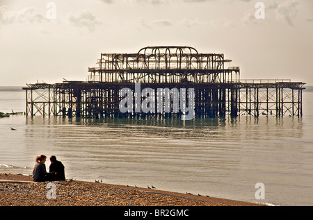 The dilapidated West Pier, Brighton, East Sussex, EnglandThe dilapidated West Pier, Brighton, East Sussex, England - Stock Photo
