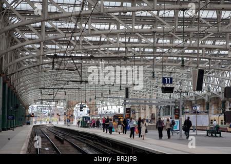 Interior of Glasgow Central Railway Station, Scotland - Stock Photo