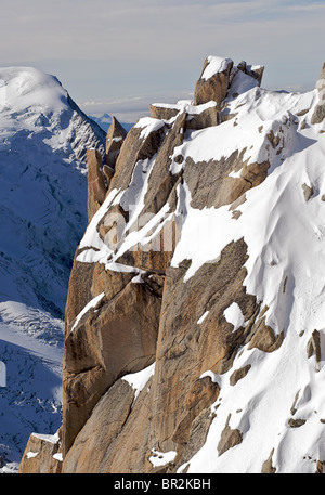 The Alps, France. Looking out from the viewpoint at the Aiguille du Midi - Stock Photo