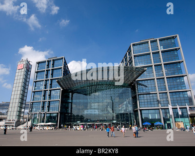 Exterior view of modern new Hauptbahnhof or Central railway station in Berlin Germany - Stock Photo