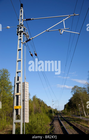 Power line and pylon structure used in Finnish railways for electric trains , Finland - Stock Photo