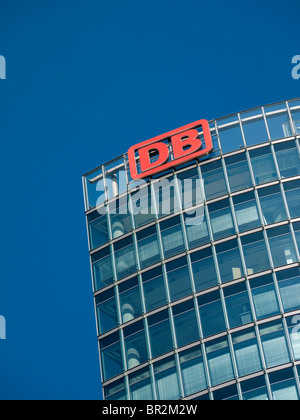 Detail of office tower headquarters of DB or Deutsche Bahn national railway company in Berlin Germany - Stock Photo