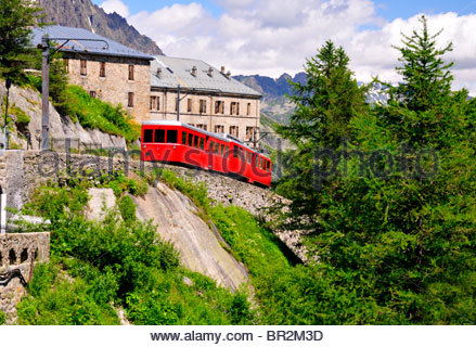The mountain railway in the Mer de Glace Montenvers that leads to Chamonix France - Stock Photo