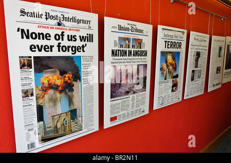 Newspaper front covers in an exhibition commemorating 9/11 2001 - Stock Photo