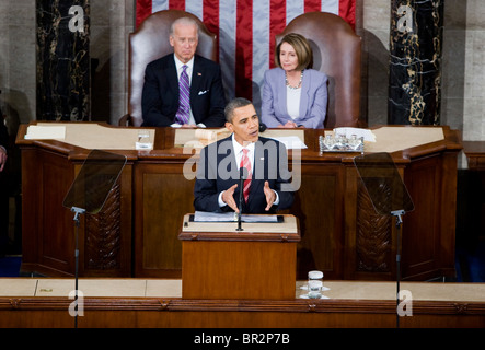 President Barack Obama delivers his first State of the Union Address.  - Stock Photo