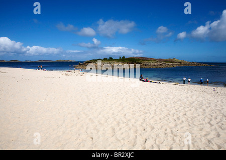 Pelistry Bay and Toll's Island St Mary's, Isles of Scilly - Stock Photo