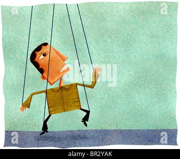 A panicked man with puppet strings attached to his hands and feet - Stock Photo