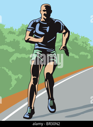 A man running on a track - Stock Photo