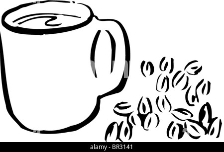 A black and white drawing of a cup of coffee and coffee beans - Stock Photo