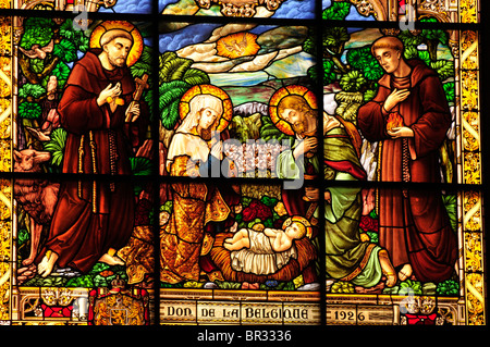 Window mosaic depicting the birth of Christ at Catherine's Church, Bethlehem, West Bank, Israel, Middle East, the - Stock Photo