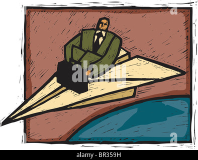 A businessman traveling on a paper airplane - Stock Photo