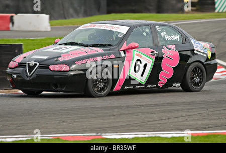 Alfashop Alfa Romeo 156 Saloon Race Car at Oulton Park Motor Racing Circuit Cheshire England United Kingdom UK - Stock Photo