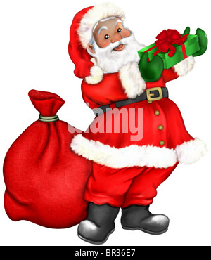 Santa Claus bearing gifts for children at Christmas time - Stock Photo