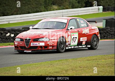 Alfashop Alfa Romeo 156 Saloon Racing Car Exiting Brittens at Oulton Park Motor Race Circuit Cheshire England United - Stock Photo