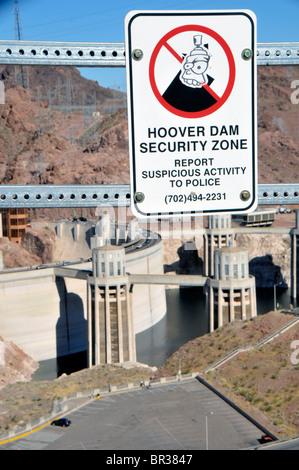 Hoover Dam Security Zone sign Arizona Nevada - Stock Photo