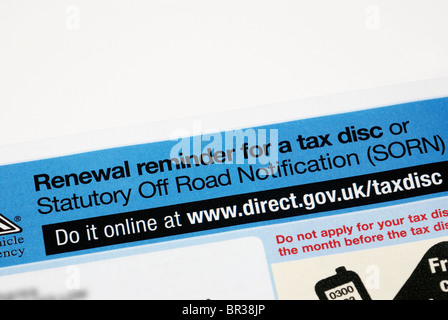 road tax reminder england UK - Stock Photo