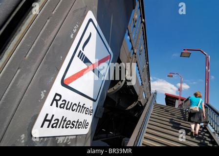 No smoking train station at the Baumwall in Hamburg, Germany, Europe - Stock Photo