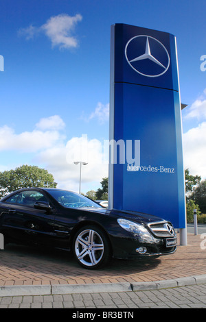 Used Mercedes-Benz SL for sale on a Mercedes-Benz dealership forecourt in Portadown, Northern ireland - Stock Photo