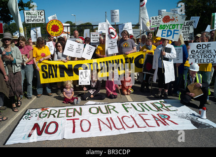 Demonstration against proposals to build a new nuclear power station at Hinkley Point in Somerset September 2010 - Stock Photo