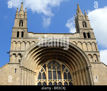 The West Window of The Abbey of the Blessed Virgin Mary at Tewkesbury (Tewkesbury Abbey), Gloucestershire, England, - Stock Photo