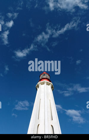 The lighthouse at Father Point Rimouski, site of the sinking of the Empress of Ireland - Stock Photo