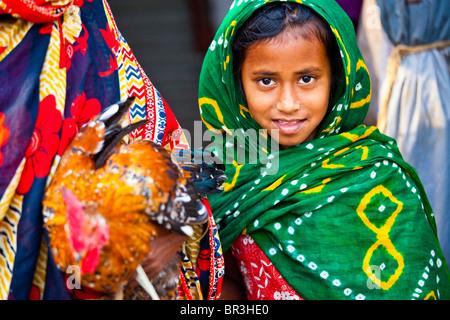 Young Muslim girl in Dhaka, Bangladesh - Stock Photo