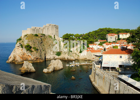DUBROVNIK, CROATIA. A view of Lovrijenac fortress from the walls of the old town. - Stock Photo