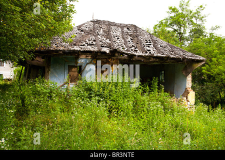 Old abandoned ruined house covered in vegetation - Stock Photo