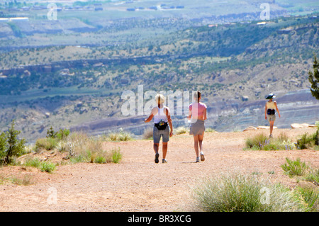 Hikers Serpents Trail Colorado National Monument Grand Junction - Stock Photo