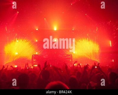 A crowd of people at a concert at The Roundhouse in London Britain - Stock Photo