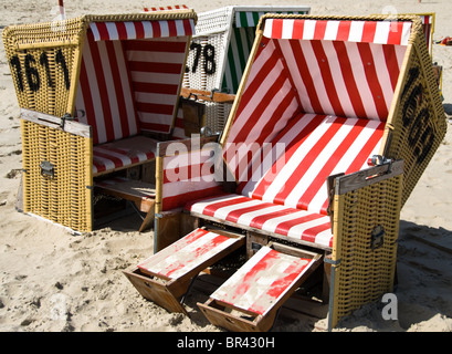 Beach chairs on the beach, Langeoog, Germany - Stock Photo
