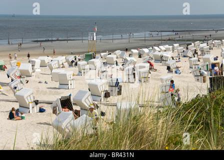 Beach chairs on the beach, Wangerooge, Germany - Stock Photo
