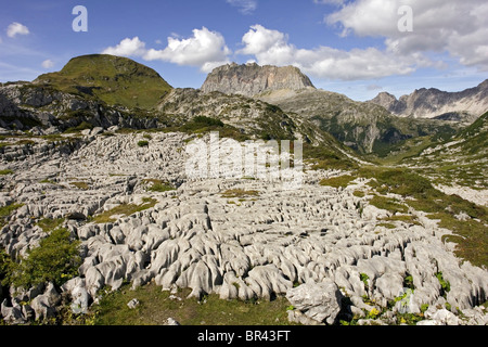 Steinernes Meer and Rote Wand, Lechquellengebirge, Vorarlberg, Austria - Stock Photo