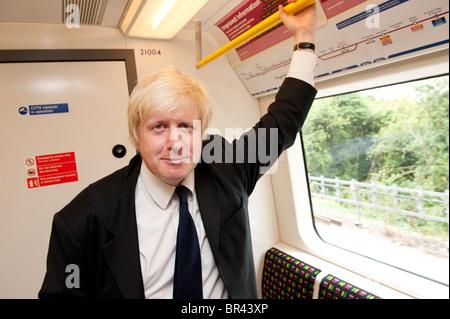 Boris Johnson, the Mayor of London, on a brand new London Underground train, England. - Stock Photo