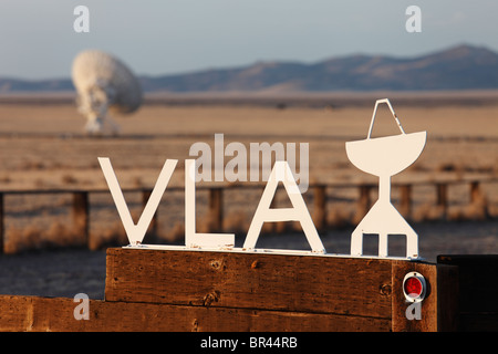 Sign at the entrance to the Very Large Array National Radio Astronomy Observatory located west of Socorro, New Mexico. - Stock Photo