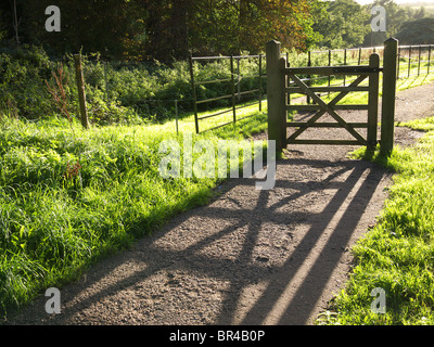 Wooden gate casts a long shadow along a path in the late afternoon sun - Stock Photo
