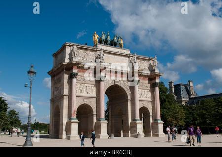 Arc de triomphe du Carrousel, near the Louvre, Paris, France - Stock Photo