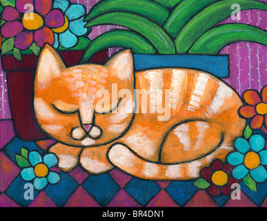 An orange tabby cat napping beside a flower pot - Stock Photo