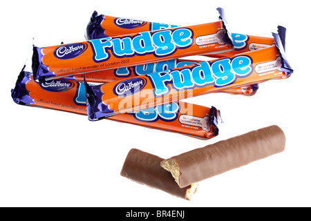 Six Cadbury's fudge chocolate bars - Stock Photo