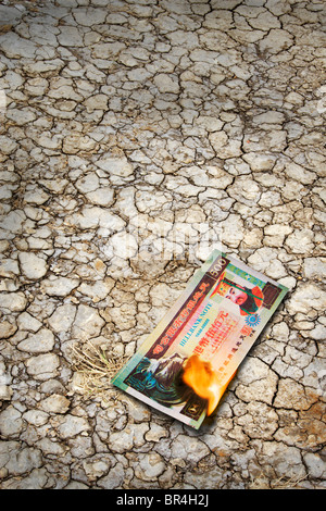 Chinese fake Hellbank, joss paper money burning on scorched earth. - Stock Photo