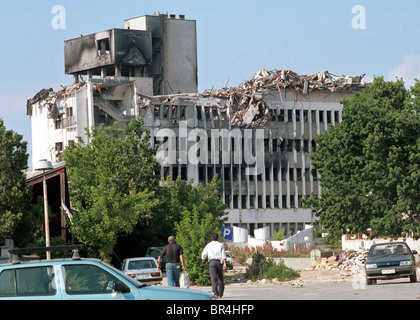 NATO bomb destruction in Pristina, Kosovo. - Stock Photo