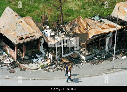 A view of city shops destroyed in Pristina, Kosovo. - Stock Photo
