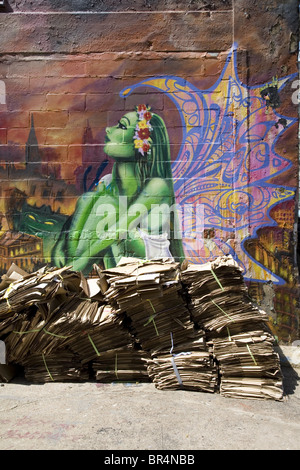 Graffiti wall, New York City, New York State, USA, USA - Stock Photo