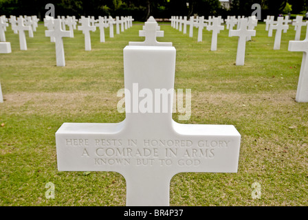 Grave of the Unknown soldier. Normandy American Cemetery, 17.2 acres in size where 9,387 servicemen & women (307 - Stock Photo