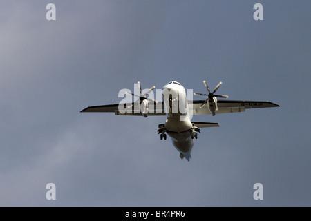 G BWIR   Scot Airways in flight prior to Landing at Dundee Airport, Tayside, Scotland, UK - Stock Photo