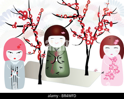 An illustration of three Japanese style dolls with an array of different flowers in the background - Stock Photo
