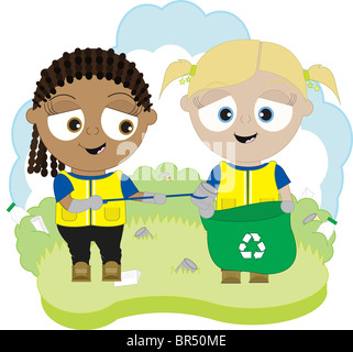Children helping to pick up litter - Stock Photo
