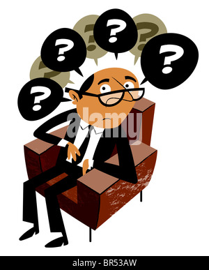 A man sitting in a chair with many questions - Stock Photo