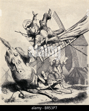 Don Quixote attacking the windmills believing them to be giants, from Don Quixote De La Mancha by Miguel de Cervantes - Stock Photo