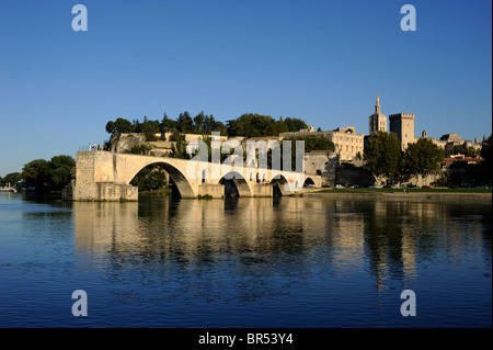 france, provence, avignon, rhone river, saint benezet bridge and papal palace - Stock Photo